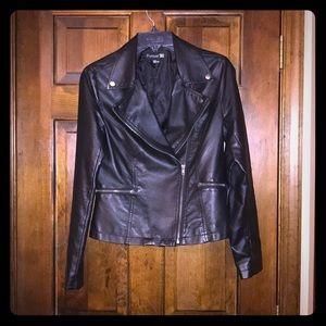 Sleek black leather jacket